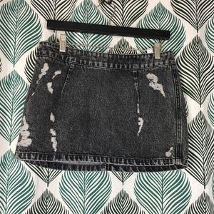 Topshop Gray Distressed Denim Acid Wash Mini Skirt